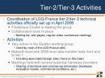 tier 2 tier 3 activities