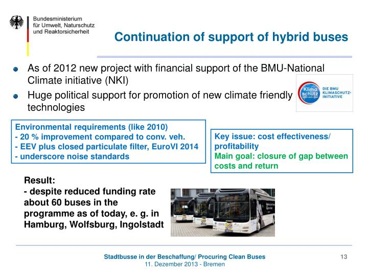 Continuation of support of hybrid buses