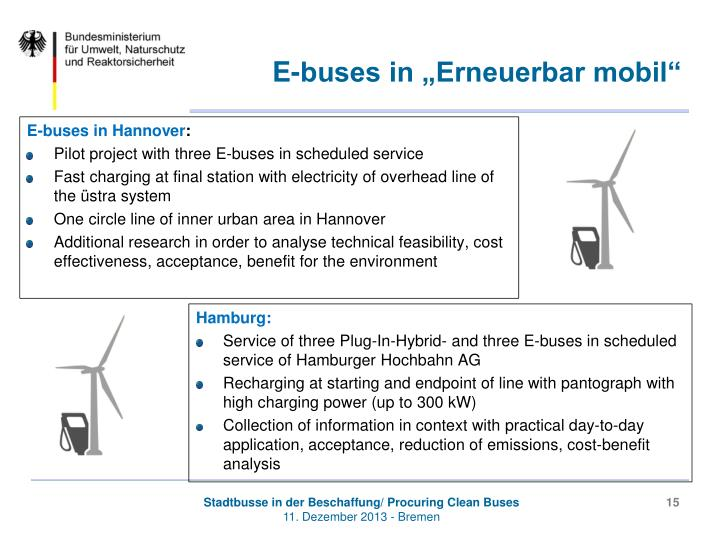 "E-buses in ""Erneuerbar mobil"""