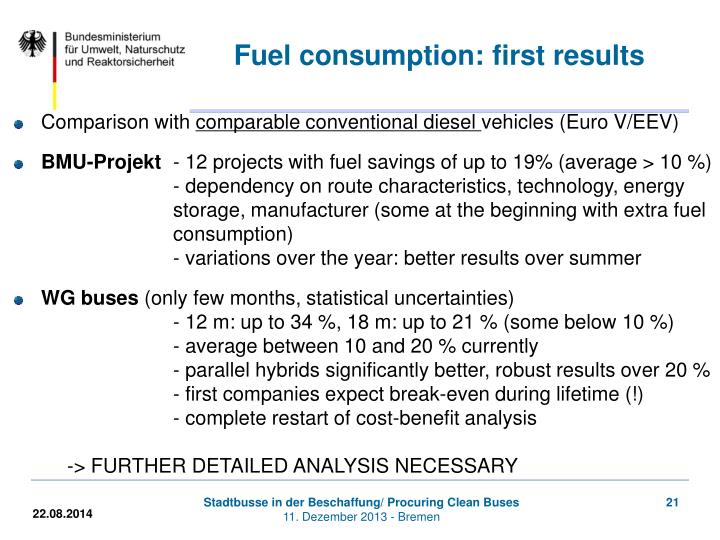 Fuel consumption: first results