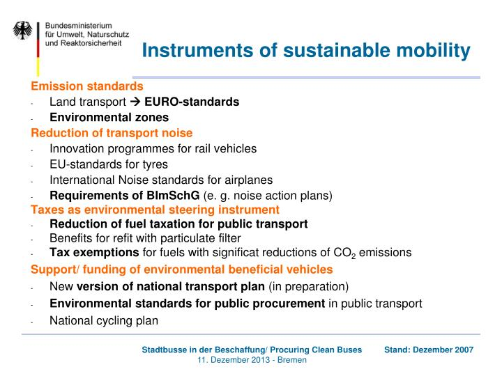 Instruments of sustainable mobility
