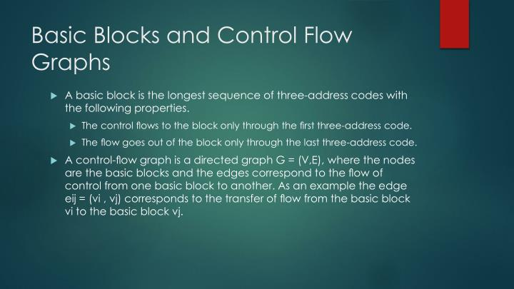 Basic Blocks and Control Flow Graphs