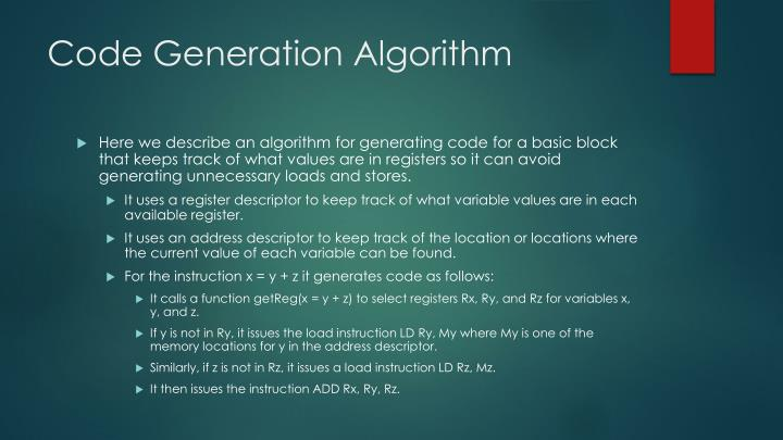 Code Generation Algorithm