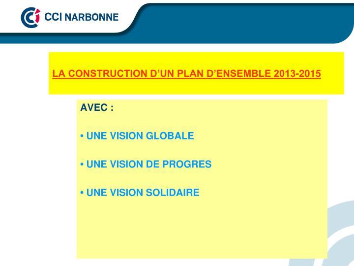 LA CONSTRUCTION D'UN PLAN D'ENSEMBLE 2013-2015