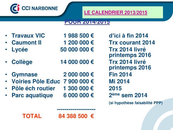 LE CALENDRIER 2013/2015