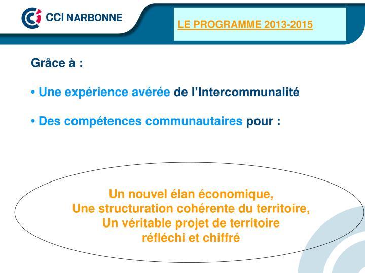 LE PROGRAMME 2013-2015