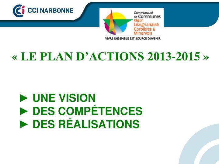«LE PLAN D'ACTIONS 2013-2015»