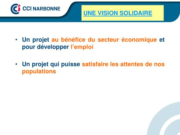 UNE VISION SOLIDAIRE