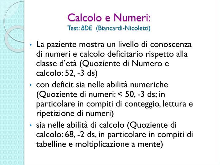 Calcolo e Numeri: