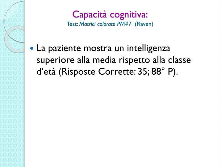 Capacità cognitiva:
