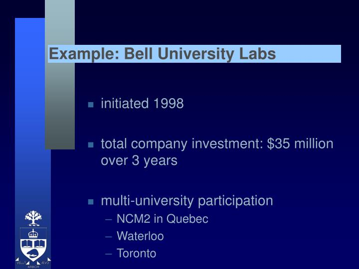Example: Bell University Labs