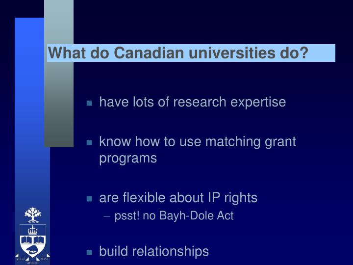 What do Canadian universities do?