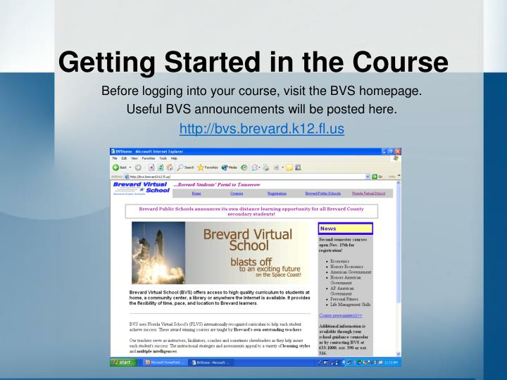 Getting Started in the Course