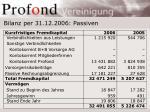 bilanz per 31 12 2006 passiven