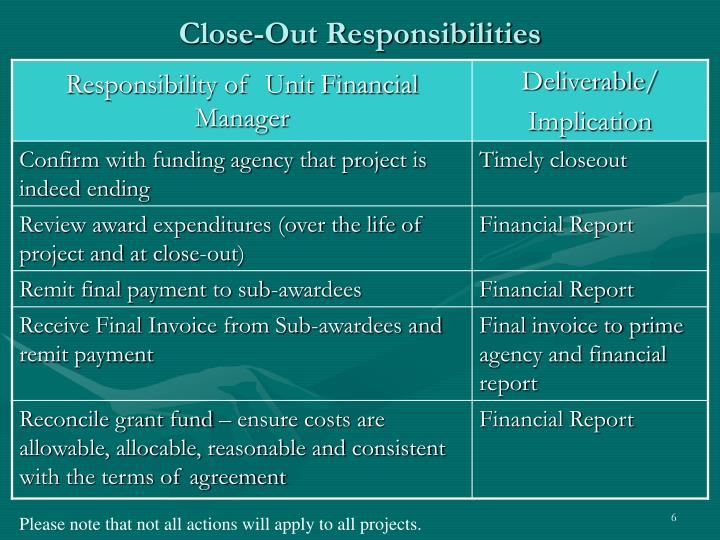 Close-Out Responsibilities