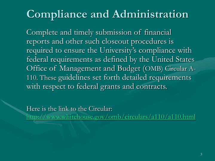 Compliance and administration