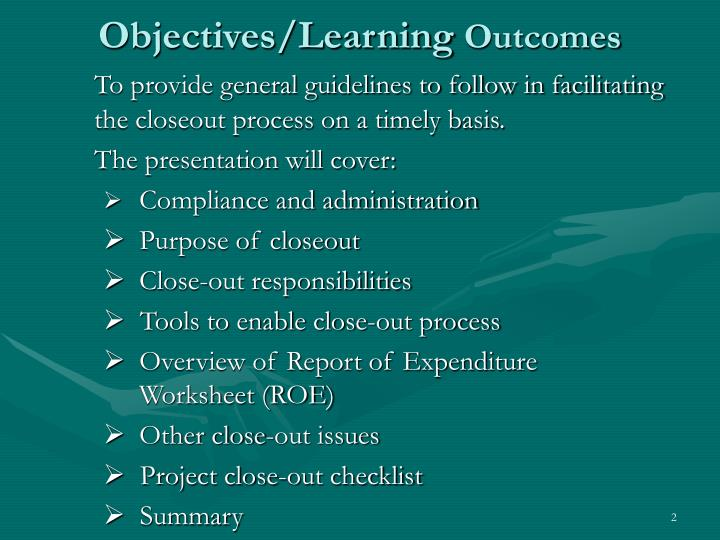 Objectives learning outcomes