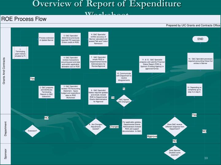 Overview of Report of Expenditure Worksheet