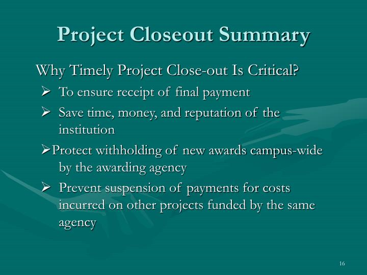 Project Closeout Summary