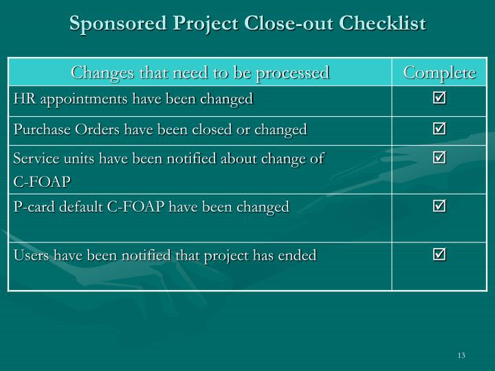 Sponsored Project Close-out Checklist