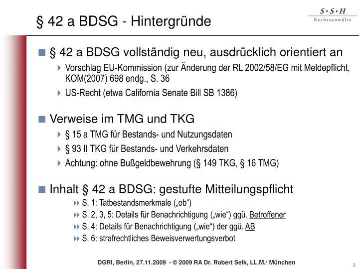 § 42 a BDSG - Hintergründe