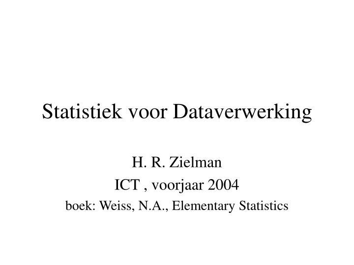 Statistiek voor Dataverwerking