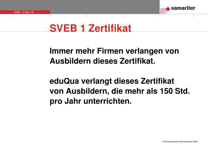 SVEB 1 Zertifikat