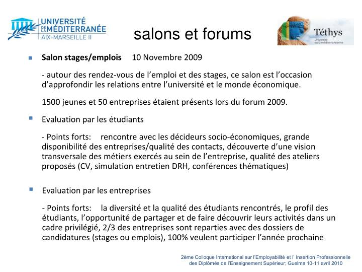 salons et forums