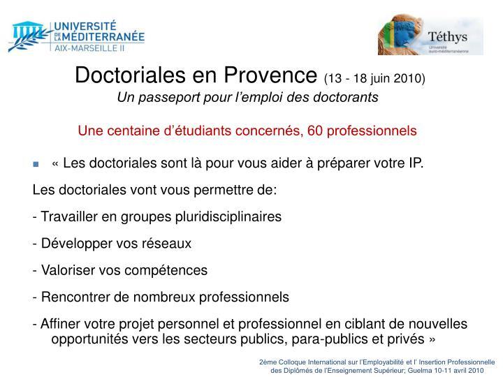 Doctoriales en Provence