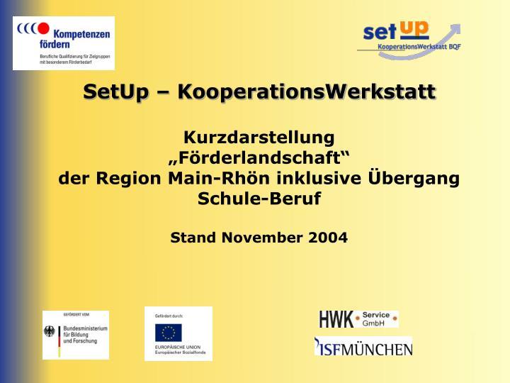 SetUp – KooperationsWerkstatt