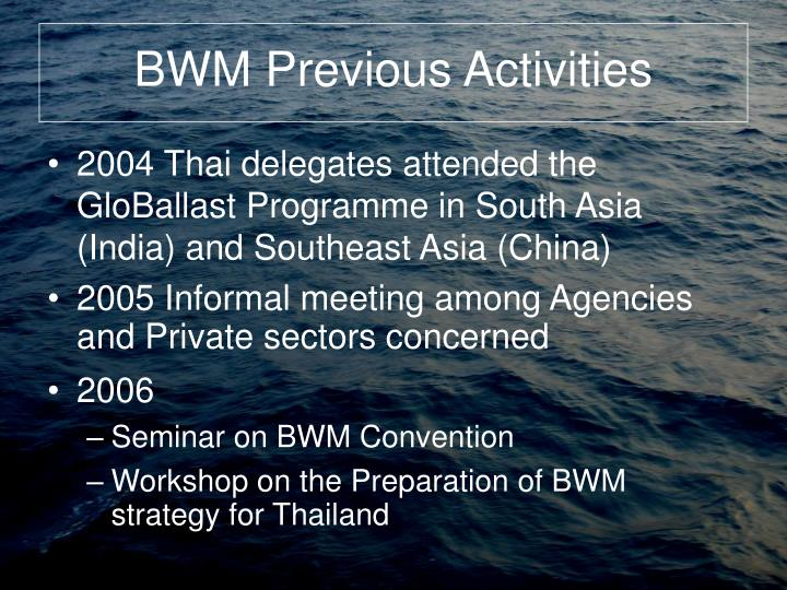 BWM Previous Activities