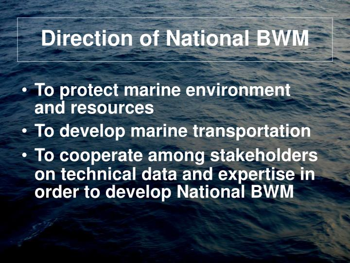 Direction of National BWM