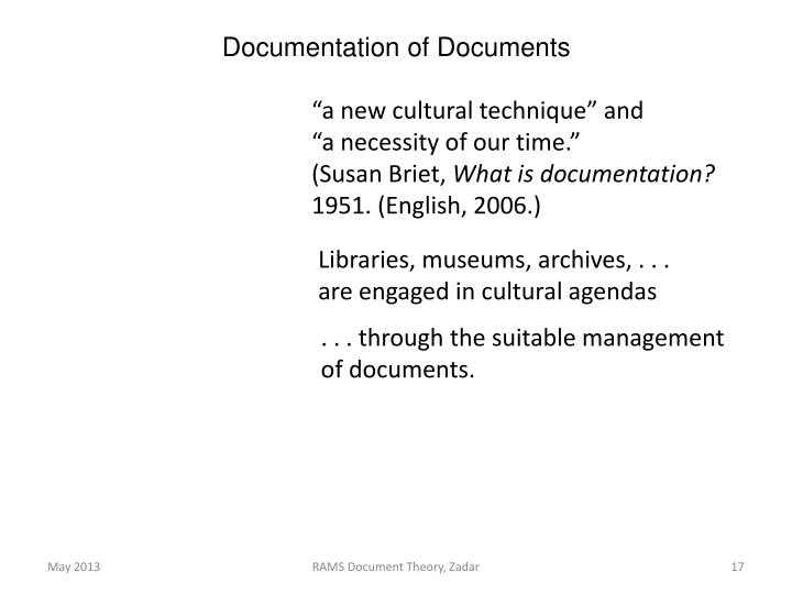 Documentation of Documents