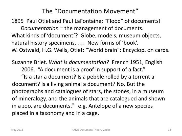 "The ""Documentation Movement"""