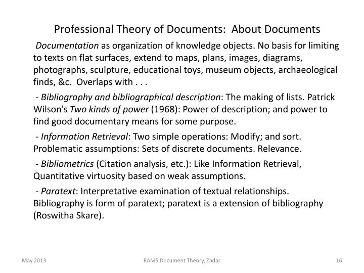 Professional Theory of Documents:  About Documents