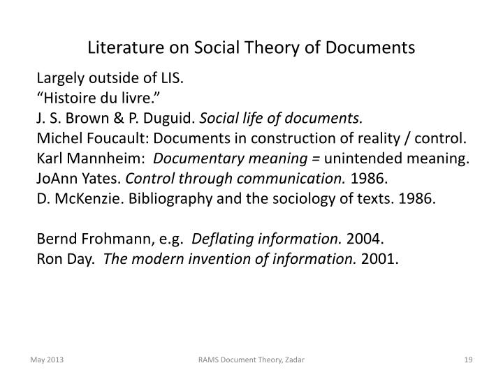 Literature on Social Theory of Documents