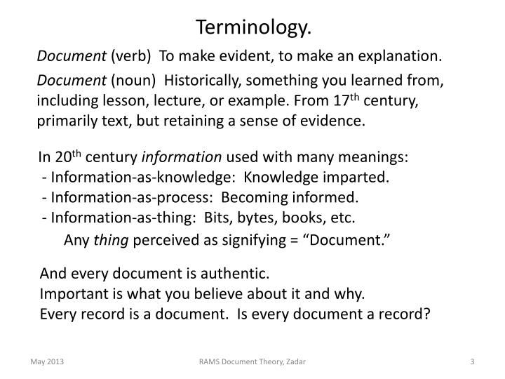 Terminology.