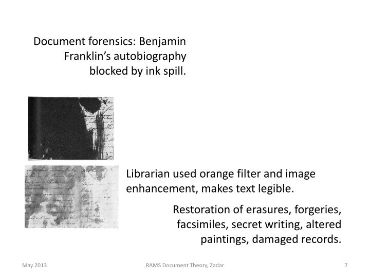 Document forensics: Benjamin Franklin's autobiography blocked by ink spill.