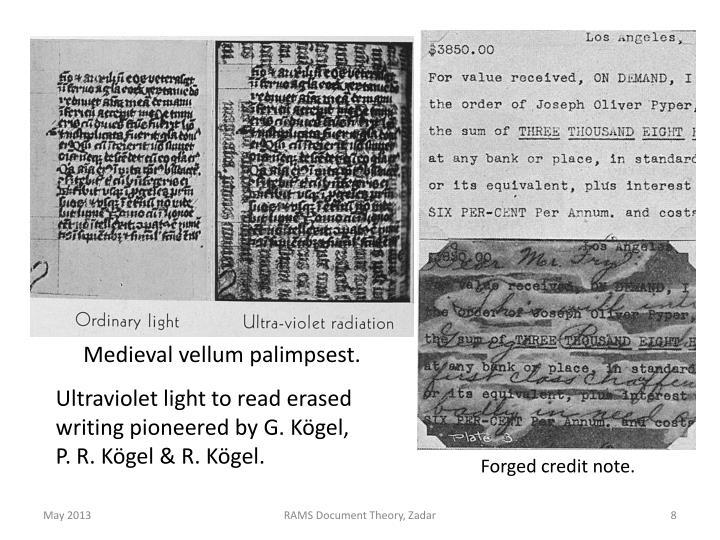 Medieval vellum palimpsest.