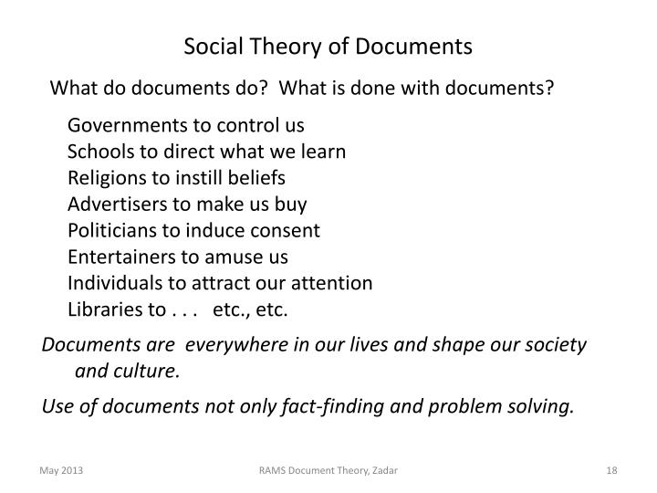 Social Theory of Documents