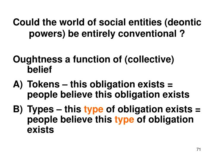 Could the world of social entities (deontic powers) be entirely conventional ?