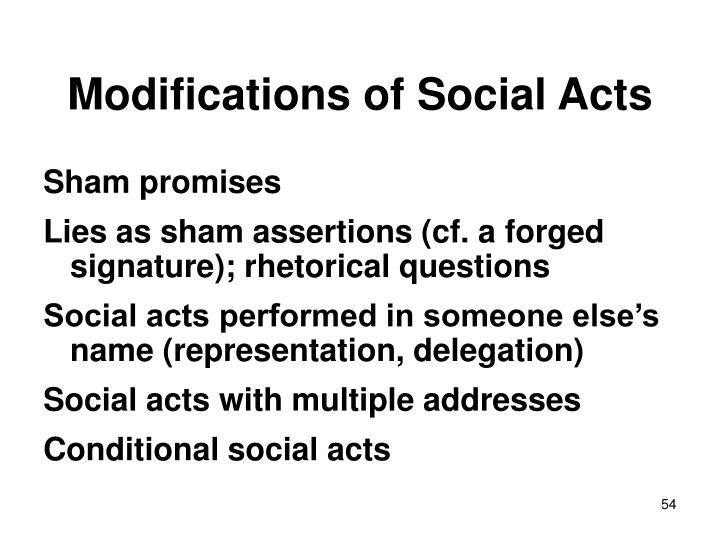 Modifications of Social Acts