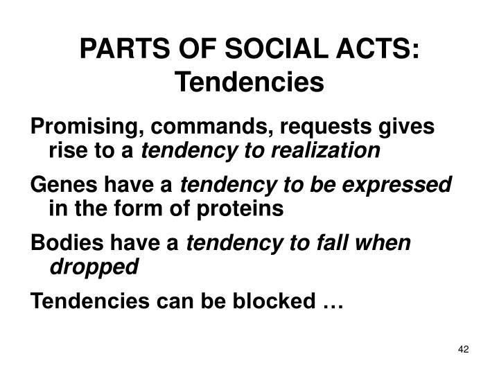 PARTS OF SOCIAL ACTS: Tendencies