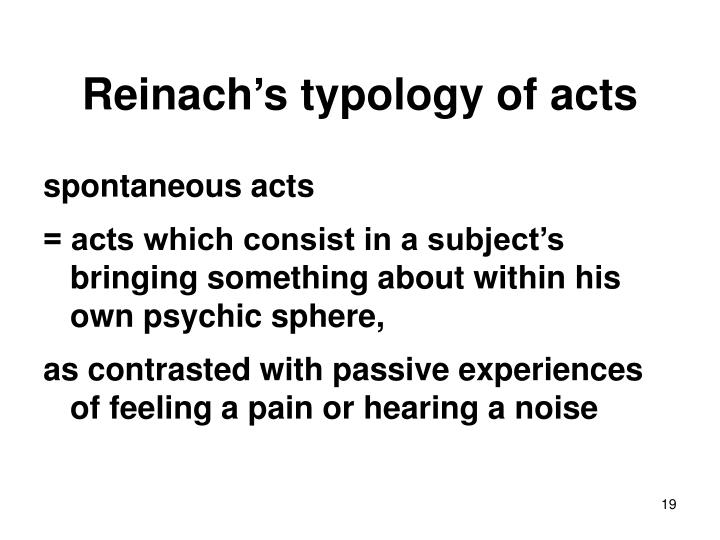 Reinach's typology of acts