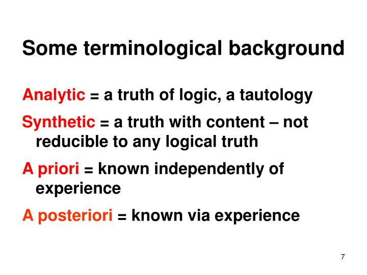 Some terminological background