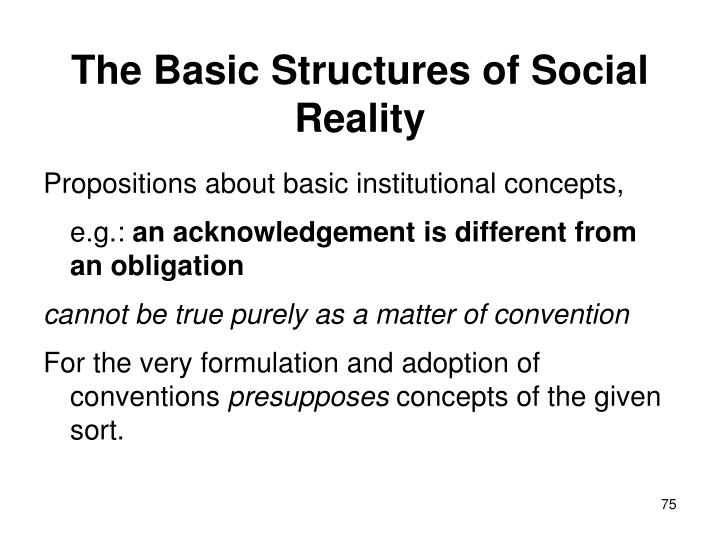 The Basic Structures of Social Reality