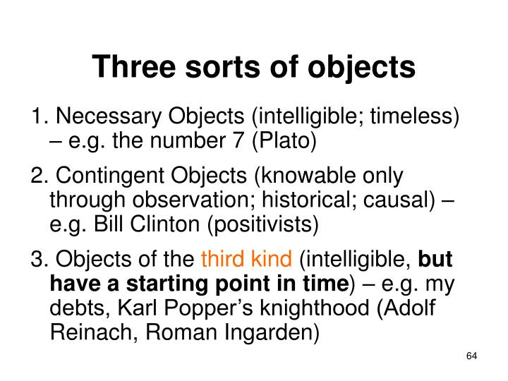 Three sorts of objects
