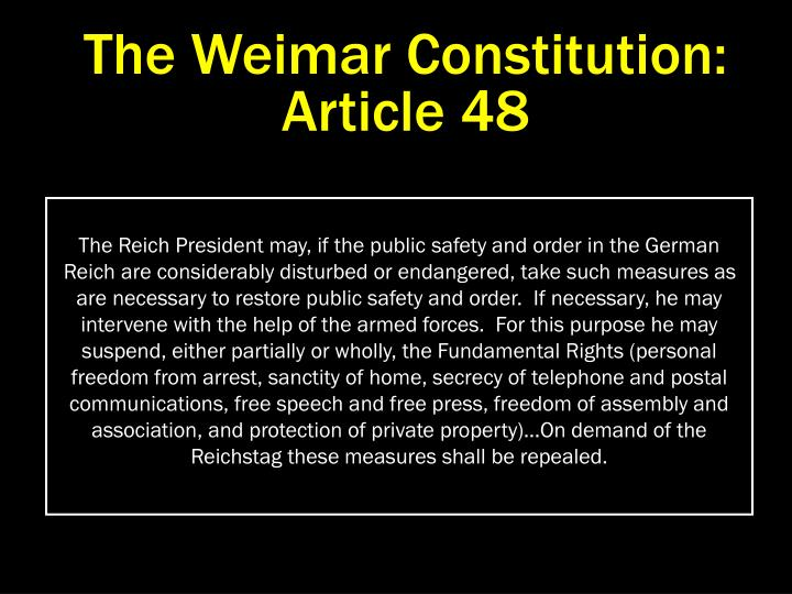 The Weimar Constitution:  Article 48