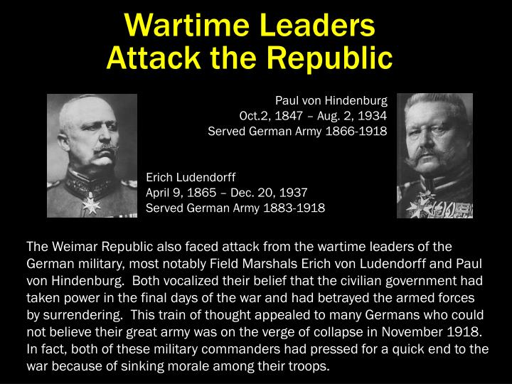 Wartime Leaders                                Attack the Republic