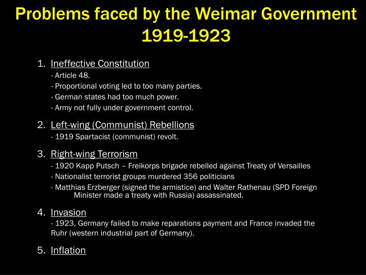 Problems faced by the Weimar Government 1919-1923